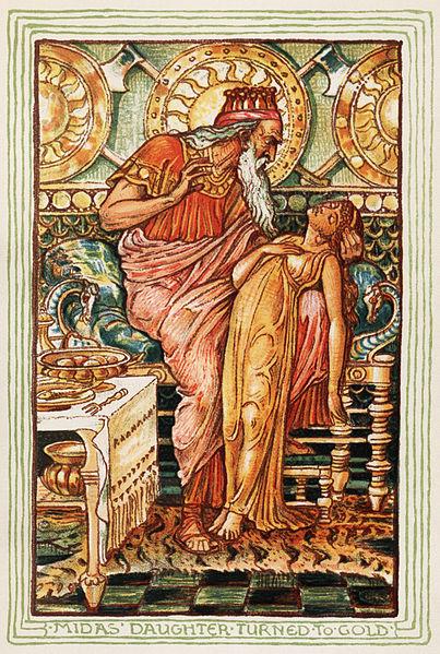 König Midas hat seine eigene Tochter in Gold vewandelt. Die Geschichte des Königs lehrt uns bereits von Kindesbeinen: Geld macht nicht unbedingt glücklich. (Quelle: wikipedia.de)