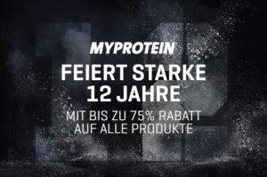 12 Jahre Myprotein: Bis zu 75% Rabatt auf ALLES + Gratis Geburtstagsbox ab 95 €. Code: FEIER (gültig: nur für kurze Zeit)