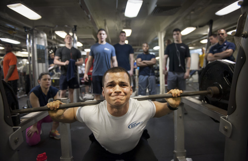 USS Nimitz holds a weightlifting competition.