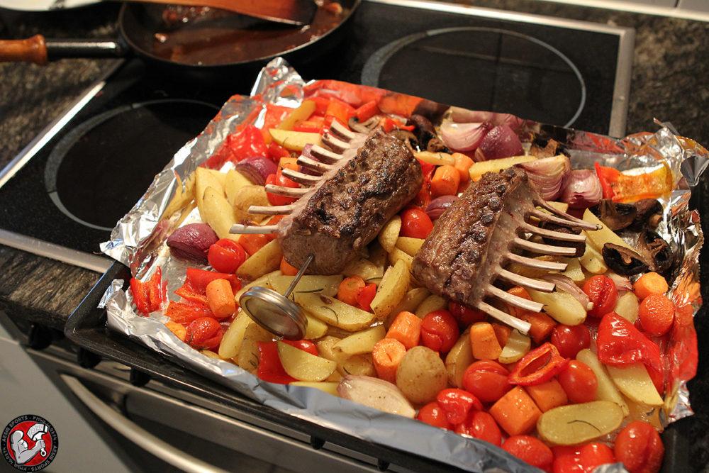 Lammrack mit Gemüse