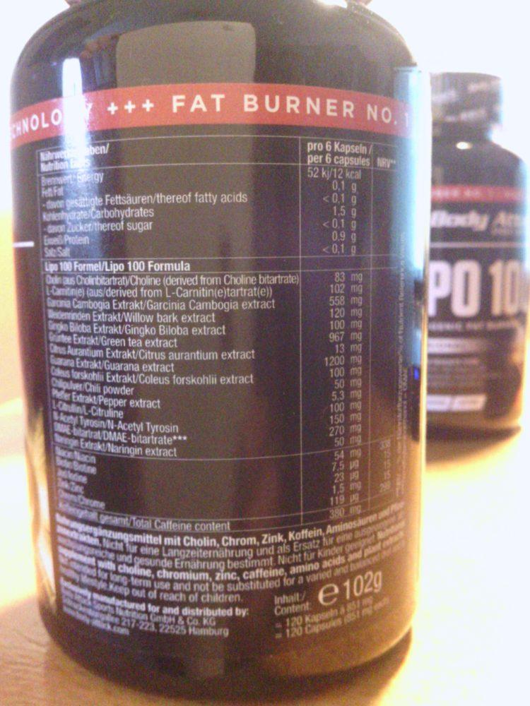 Die Inhaltsstoffe von Lipo100 - etwas für wahre Koffeinjunkies.