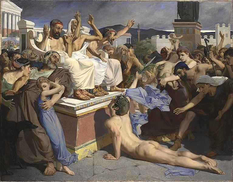 """Pheidippides war flott unterwegs: Das Bild, gemalt von Luc-Olivier Merson, zeigt den legendären """"Marathon""""-Läufer, wie er die Botschaft überbringt. (Bildquelle: Wikimedia / ;CC Lizenz)"""