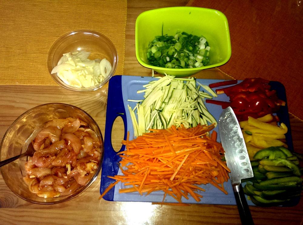 Chinapfanne-Vorbereitung