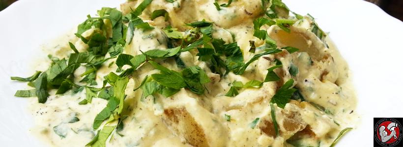 Rosmarin Bratkartoffeln in Senf-Käsesauce