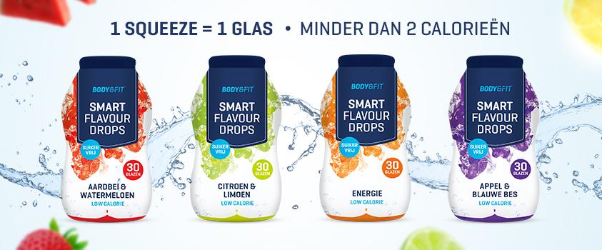 """Neu im Sortiment: Smart Flavour Drops Getränkekonzentrat. 2 Kilokalorien pro """"Glas"""" - Erhältlich in 4 Geschmacksrichtungen."""