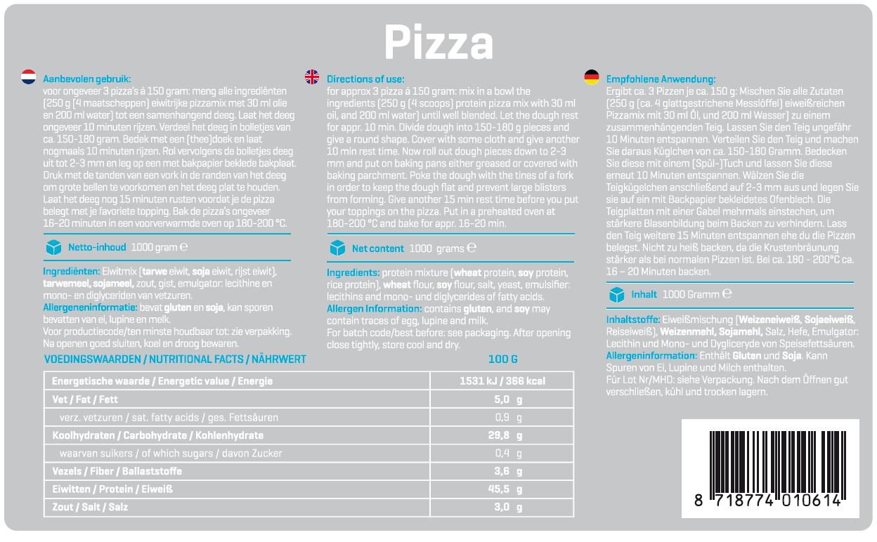 Protein Pizza Mix - Nährwerte & Inhaltsstoffe (Zum Vergrößern draufklicken)