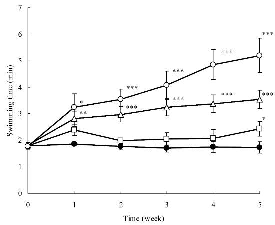 Experiment 1: Ausdauersteigernder, dosis-abhängiger Effekt einer Astaxanthin-Ergänzung bei Mäusen. Die Nagetiere erhielten entweder kein Astaxanthin (CONTROL) oder 1,2 mg/kg, 6 mg/kg oder 30 mg/kg über einen Zeitraum von 5 Wochen. Die Mäuse schwammen mit zusätzlichenGewichten, die jeweils 10% ihres Körpergewichts entsprachen. Während sich die Schwimmzeit der Kontroll-Nagetiere nicht verbesserte, konnten die Astaxanthinmäuse – mit Ausnahme der Tiere, die nur 1,2mg/kg Astaxanthin erhielten, ihre Schwimmdauer von Woche zu Woche steigern. (Bildquelle: Ikeuchi et al. (2006))