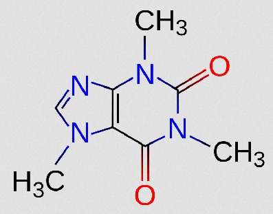 So sexy: Chemical structure of caffeine (Source: Wikimedia.org / Icey & ClockworkSoul ; CC Licence)
