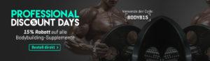 15% Rabatt auf Bodybuilding Produkte (Booster, Proteine, Creatin)l. Code: BODYB15 (gültig bis 19.08.2016)