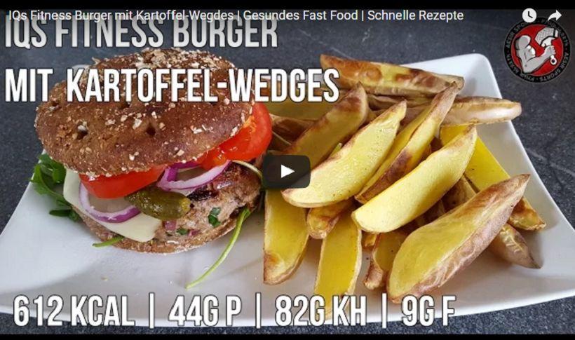 Fitness Burger mit Kartoffel Wedges | Gesundes Fast Food