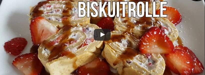 Erdbeer-Biskuit Rolle | High Protein Dessert