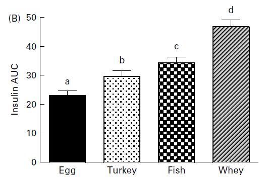Insulinspiegel - Insulinreaktion von 4 unterschiedlichen Proteinquellen (Eier, Pute, Fisch und Whey).