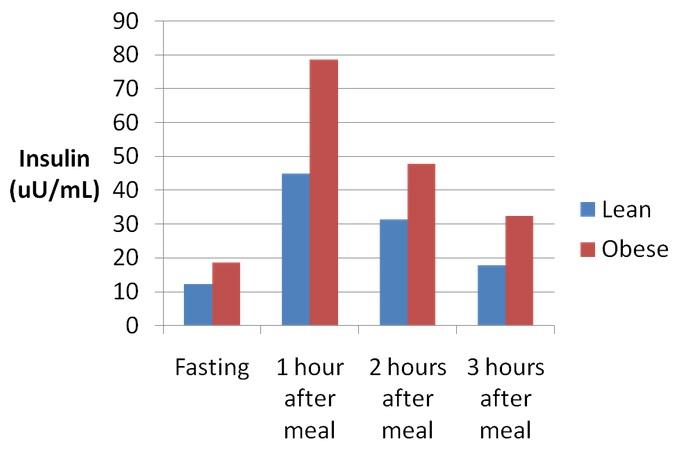 Insulin & Insulinspiegel - Kalorienaufnahme beim Mittagessen, rund 4 Stunden nach dem Verzehr einer der vier Proteinquellen.