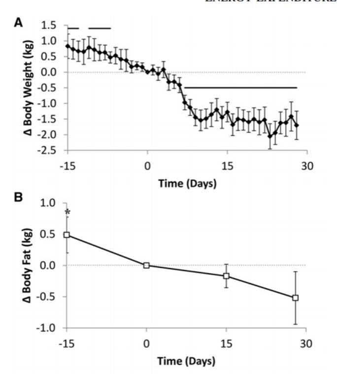 Veränderung des Körpergewichts (Grafik A) sowie Veränderung der Fettmasse (Grafik B) im Experimentzeitraum. Erst High-Carb (Baseline Diet, Tag -15-0)) dann ketogen (ab Tag 0). (Bildquelle: Hall et al, 2016)