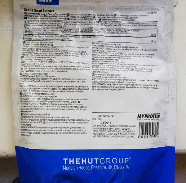 Review: Traubenkernextrakt (Grape Seed Extract) von Myprotein im Test