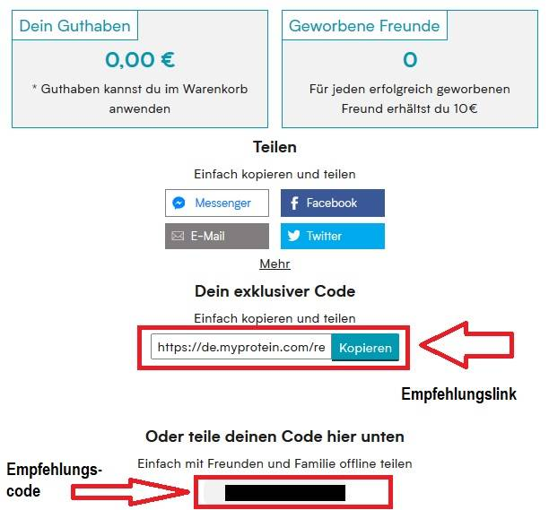 Erhalte 10 € Guthaben auf dein Myprotein Konto für jeden geworbenen Freund (Freunde werben Freunde)