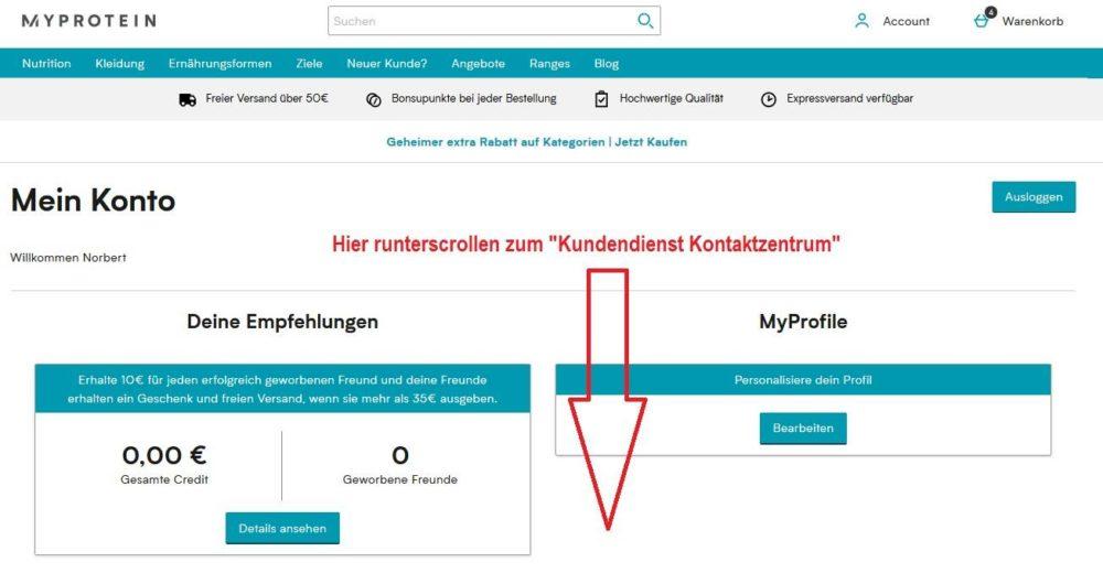 Myprotein Kundenservice via Direktnachricht kontaktieren