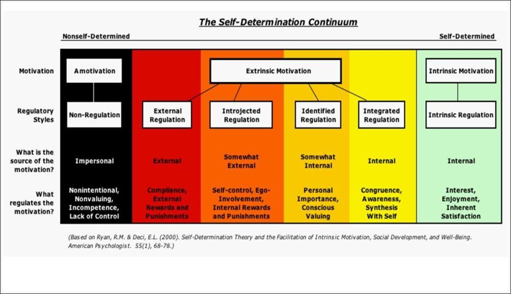 """Das """"Self-Determination""""-Kontinuum zeigt Motivationstypen mit ihren regulatorischen Stilen, dem Ort der Kausalität und die korrespondierenden Prozesse."""